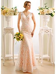 Русалка V-образный вырез В пол Кружева Свадебное платье с Аппликации Пуговицы от LAN TING BRIDE®