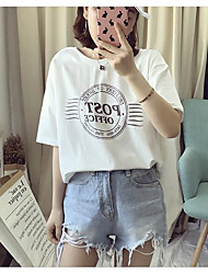Damen Druck Einfach Lässig/Alltäglich T-shirt,Rundhalsausschnitt Sommer Kurzarm Baumwolle