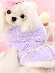 Cachorro Vestidos Roupas para Cães Casual Sólido Roxo Rosa claro