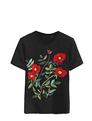 T-shirt Da donna Casual Per uscire Sensuale Semplice Moda città Estate,Fantasia floreale Ricamato Rotonda Cotone Poliestere Manica corta
