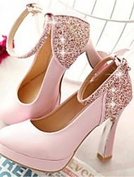 Women's Heels Comfort PU Spring Winter Casual Comfort Blushing Pink 4in-4 3/4in