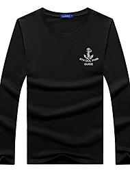 Tee-shirt Homme,Imprimé Décontracté / Quotidien Grandes Tailles simple Toutes les Saisons Automne Manches Longues Col Arrondi Coton Moyen