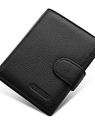 Men Money Clip Cowhide All Seasons Shopping Daily Casual Rectangle Snap Coffee Black