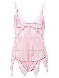 Women's  Babydoll & Slips Ultra Sexy Nightwear with Thong T-back Sexy Lace Solid-Translucent Polyester Nylon Spandex