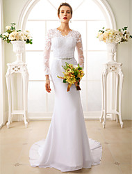 Mermaid / Trumpet V-neck Court Train Chiffon Lace Wedding Dress with Appliques Sash / Ribbon by LAN TING BRIDE®