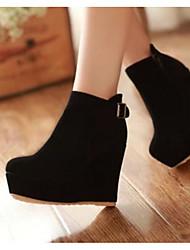 Women's Boots Comfort PU Winter Casual Comfort Blue Black 2in-2 3/4in