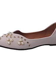 Women's Flats Comfort PU Summer Casual Imitation Pearl Flat Heel White Black Beige Flat