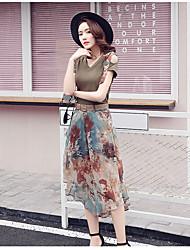 Mujer Verano T-Shirt Falda Trajes,Escote Redondo Un Color Manga Corta
