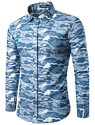 Men's Party Going out Casual/Daily Simple Chinoiserie Spring Fall Shirt,Print Shirt Collar Long Sleeve Cotton