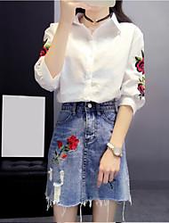 Для женщин На каждый день Лето Рубашка Юбки Костюмы Рубашечный воротник,Шинуазери (китайский стиль) Однотонный Вышивка Рукав ¾