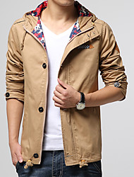Men's Plus Size Holiday Going out Casual/Daily Simple Active Punk & Gothic Fall Winter Jacket,Solid Color Block Hooded Long Sleeve Regular