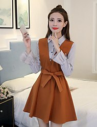 Women's Going out Loose Dress,Striped Shirt Collar Knee-length Long Sleeves Polyester Spring Mid Rise Micro-elastic Medium