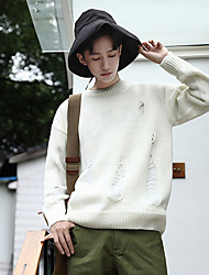 Men's Casual/Daily Simple Short Pullover,Solid Round Neck Long Sleeves Wool Others Spring Fall Thin Medium Micro-elastic