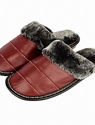 Womens Bedroom Indoor Shoes Genuine Leather Slip-On Cotton-Padded House Comfy Slippers