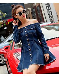 Toile de jean Robe Femme Sortie Sexy simple,Couleur Pleine Bateau Au dessus du genou Manches Longues Coton Printemps Eté Taille Haute