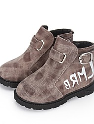 Jungen Stiefel Komfort Springerstiefel Winter Leder Walking Normal Schnalle Kariert Klett Niedriger Absatz Grau Rot Kamel Flach