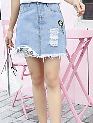 Women's Casual/Daily Mini Skirts,Simple A Line Denim Solid Summer