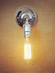 1pcs e27 edison vintage loft corredor cromado lâmpada de parede com zíper sem lâmpada para 110 / 220v