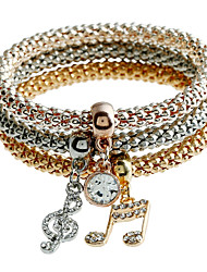 Lureme Music Note Charm Bracelets For Women Christmas Gold Color Crystal Bracelets & Bangles Elastic Chain Jewelry