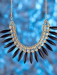 Mulheres Colares com Pendentes Colares em Corrente Zircônia cúbica Forma Geométrica Cristal Prata Chapeada Vidro Zircão LigaBásico Moda
