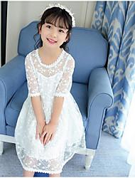 Menina de Vestido Cor Única Verão Algodão Meia Manga