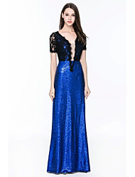 Sheath / Column V-neck Floor Length Lace Sequined Formal Evening Dress with Lace Sequins by YIYIAI