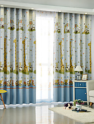 Two Panels European Minimalist Cartoon Style Children Room Living Room Bedroom Shade Curtains