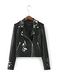 Для женщин Спорт На выход Весна Осень Кожаные куртки Лацкан с тупым углом,Простой Однотонный Обычная Длинный рукав,Полиэстер,Вышивка