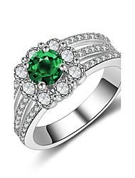 Damen Bandringe Smaragd Kubikzirkonia Modisch Vintage Elegant Zirkon Silber Runde Form Schmuck Für Hochzeit Verlobung Zeremonie