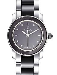 Жен. Модные часы Swiss Кварцевый Защита от влаги Крупный циферблат Нержавеющая сталь Керамика Группа Повседневная Элегантные часыЧерный