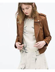 Women's Casual/Daily Simple Spring Fall Leather Jacket,Solid Shawl Lapel Long Sleeve Short Polyester