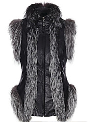Women's Casual/Daily Simple Fall Winter Vest,Solid Stand Sleeveless Short Fox Fur