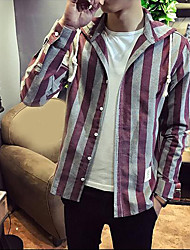 Men's Casual/Daily Simple Shirt,Striped Hooded Long Sleeves Cotton