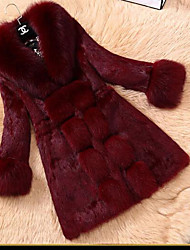 Women's Casual/Daily Simple Winter Fur Coat,Solid Shawl Lapel Long Sleeve Long Others
