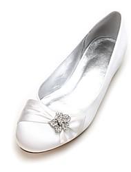 Femme Chaussures de mariage Confort Ballerine Satin Printemps Eté Mariage Habillé Soirée & EvénementStrass Fleur en Satin Paillette