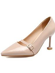 Для женщин Обувь на каблуках Удобная обувь Весна Осень Лакированная кожа Пряжки На шпильке Черный Красный Миндальный Светло-Розовый 7 -