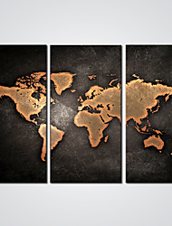 Stretched Abstract World Map  Giclee Print for Office Decoration Ready to Hang 30x60cmx3pcs