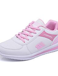 Femme Chaussures d'Athlétisme Confort Similicuir Printemps Automne Décontracté Marche Lacet Plateforme Blanc Noir Gris Violet 7,5 à 9,5 cm