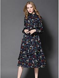 Gaine Robe Femme Sortie Mignon,Imprimé Mao Midi Manches Longues Polyester Automne Taille Normale Micro-élastique Moyen