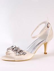 Women's Wedding Shoes Basic Pump Silk Spring Summer Wedding Party & Evening Dress Basic Pump Rhinestone Stiletto Heel Champagne3in-3