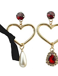 Drop Earrings Women's Euramerican Fashion Luxury Asymmetry of personality Pear Heartl Rhinestone Earrings  Party Daily Movie Jewelry