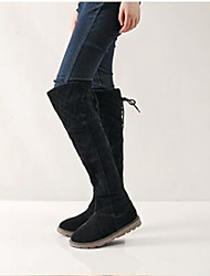 Women's Boots Snow Boots Nubuck leather Winter Casual Snow Boots Almond Black Under 1in