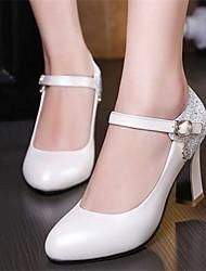 Women's Heels Comfort PU Spring Casual Comfort Blushing Pink White 4in-4 3/4in