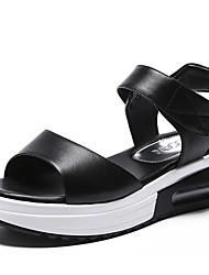 Femme Sandales Confort PU de microfibre synthétique Eté Décontracté Blanc Noir 5 à 7 cm