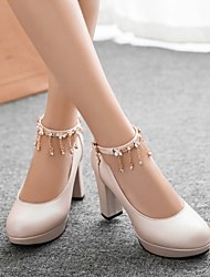 Damen Schuhe PU Frühling Komfort High Heels Blockabsatz Runde Zehe Mit Für Normal Weiß Schwarz Beige