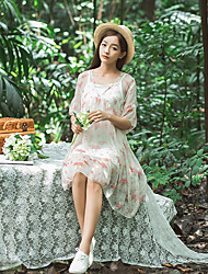 Women's Going out Simple Active Summer Blouse Skirt Suits,Print Round Neck Half Sleeves