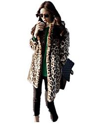 Mujer Simple Casual/Diario Otoño Invierno Abrigo de Piel,Solapa de Pico Leopardo Manga Larga Algodón Largo