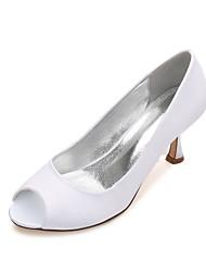 Women's Wedding Shoes Comfort Basic Pump Spring Summer Satin Wedding Dress Party & Evening Low Heel Kitten Heel Stiletto Heel Purple Ruby