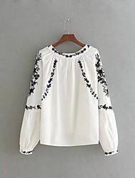 T-shirt Da donna Per uscire Casual Semplice Romantico Moda città Primavera Autunno,Tinta unita Ricamato Rotonda Cotone Manica lunga