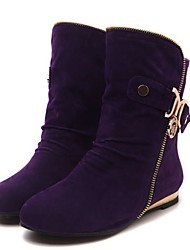 Women's Shoes Fleece Winter Fashion Boots Boots Flat Heel Booties/Ankle Boots With For Casual Black Purple Yellow Green
